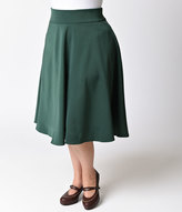 Unique Vintage Plus Size Retro Emerald Green High Waist Vivien Swing Skirt