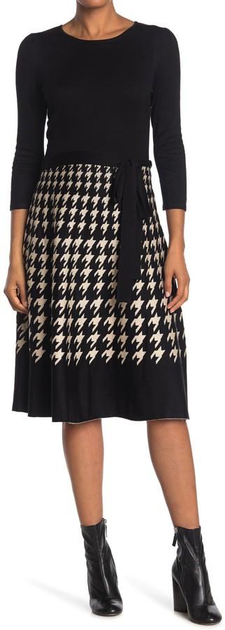 Gabby Skye 3/4 Sleeve Houndstooth Belted Skirt Dress