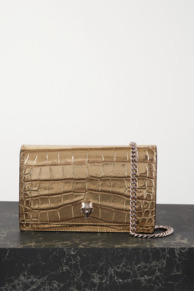 Alexander McQueen Skull Croc-effect Metallic Leather Shoulder Bag - Gold