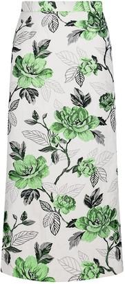 Sika'a Rose Floral-Jacquard Pencil Skirt