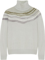 Raoul Felt-paneled stretch-knit turtleneck sweater