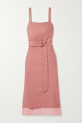 Rokh Belted Twill And Satin-crepe Midi Dress