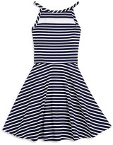 Aqua Girls' Stripe Mesh Yoke Skater Dress , Big Kid - 100% Exclusive