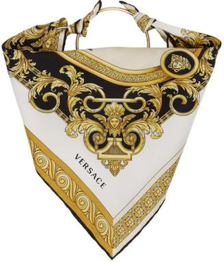 Versace White Silk Ring Head Scarf
