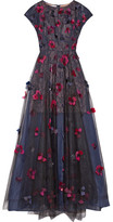 Oscar de la Renta Layered Embellished Tulle, Organza And Lace Gown - Black