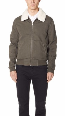 Paige Men's Kinley Stretch Bomber Jacket W/Removable Shearling Collar