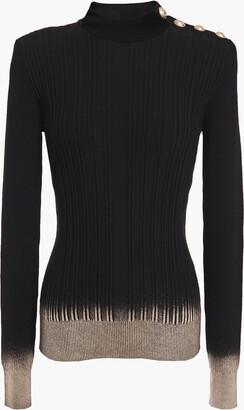 Balmain Metallic Coated Silk, Wool And Cashmere-blend Sweater