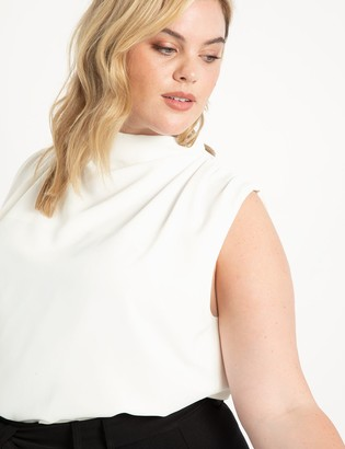 ELOQUII Draped Front Sleevless Top