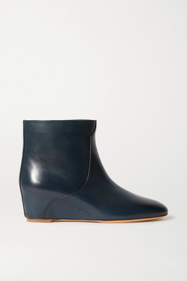 Gabriela Hearst Gorgkin Leather Wedge Ankle Boots - Black
