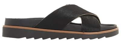 Bertie Lyberty Cross Strap Sandals, Black