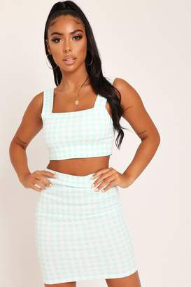 I SAW IT FIRST Mint Gingham Bodycon Mini Skirt