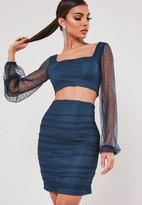 Missguided Petite Blue Co Ord Dobby Mesh Mini Skirt