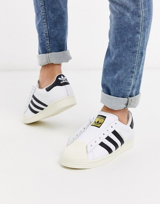 adidas laceless Superstar sneakers in white