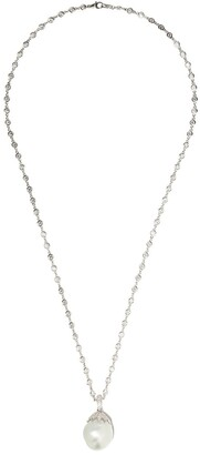 Yoko London 18kt White Gold Baroque Pearl And Diamond Necklace