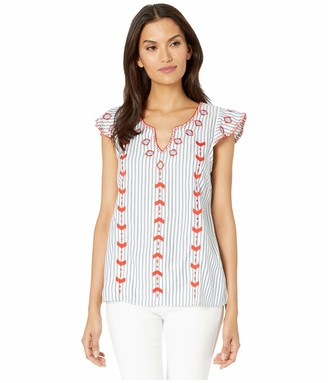 Tribal Women's Cap Sleeve Embroidered Blouse