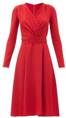 Dolce & Gabbana Wrap-front Belted Cady-crepe Midi Dress - Red