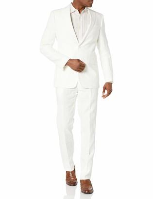 Calvin Klein Men's White Slim Fit Linen Suit 38S