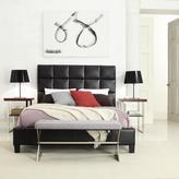 HomeSullivan Tufted Vinyl Queen-Size Platform Bed in Dark Brown