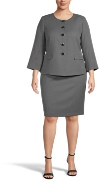 Le Suit Plus Size Mini-Diamond Collarless Bracelet-Sleeve Skirt Suit