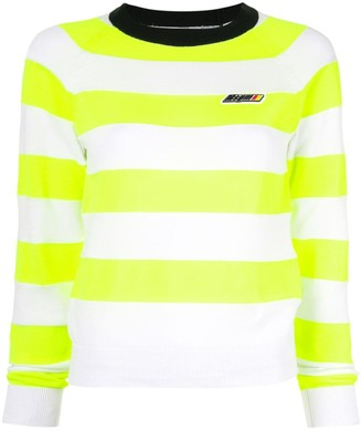 MSGM Striped Knitted Logo Jumper