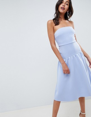 ASOS DESIGN bandeau drop waist midi dress