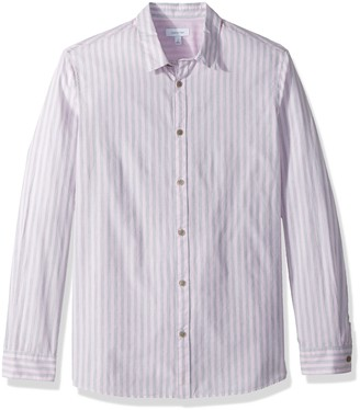 Calvin Klein Men's Long Sleeve Button Down Shirt Washed Stripe