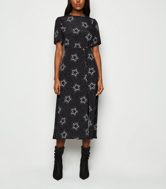 New Look Star Print Side Split Midi Dress