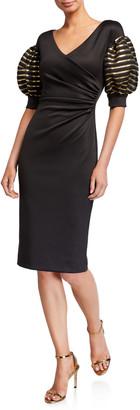 Black Halo Elora Puff-Sleeve Sheath Cocktail Dress