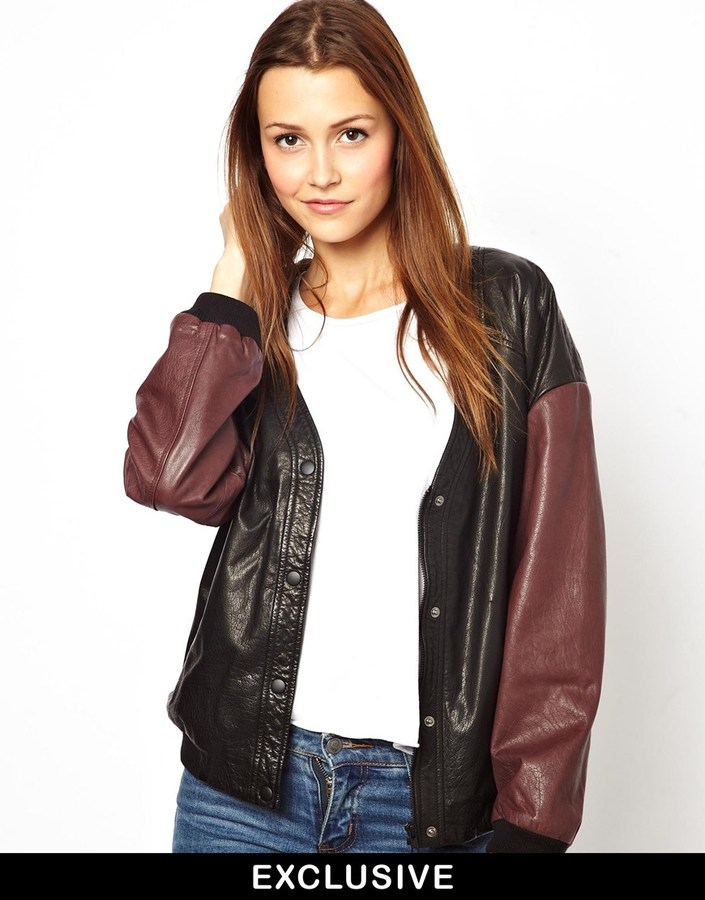 Asos HIDE Exclusive to Sanna Bomber Jacket with Contrast Sleeves - Multi