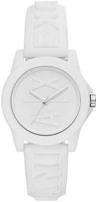 Armani Exchange Women Lady Bank White Silicone Strap Watch 40mm