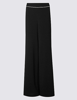 M&S Collection Contrast Piped Palazzo Wide Leg Trousers