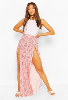 boohoo Paisley Print Split Front Maxi Skirt