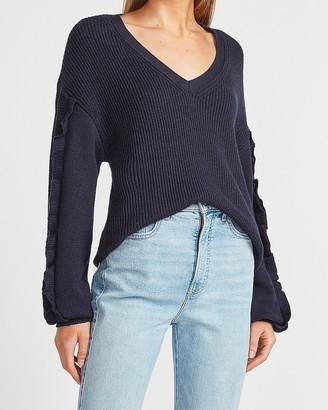 Express Ribbed Ruffle Sleeve V-Neck Sweater
