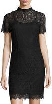 Kensie Short-Sleeve Mock-Neck Lace Minidress, Black