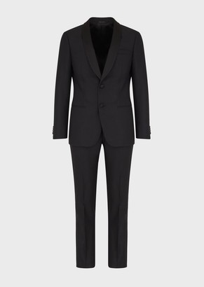 Giorgio Armani Soho Line Slim-Fit Half-Canvas Tuxedo Jacket In Shiny And Matte Jacquard