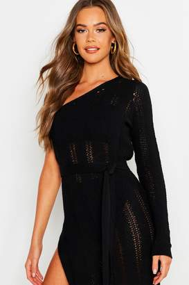 boohoo One Shoulder Knitted Maxi Dress