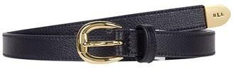 Lauren Ralph Lauren Bennington Soft Grain Leather 2 Dress Casual Skinny (Lauren Navy) Women's Belts