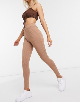 Love & Other Things ribbed leggings in camel