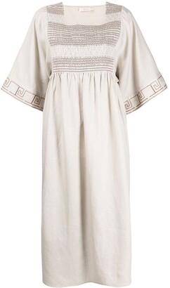Tory Burch Stitch Pattern Linen Dress