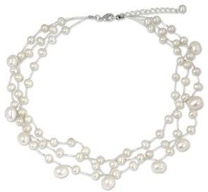 Novica Handmade Stainless Steel Moonlight Glow Pearl Choker Necklace