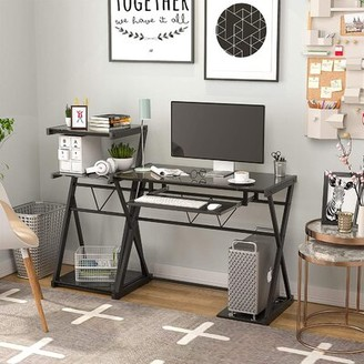 Inbox Zero Laptop X-Frame Workstation Reversible Glass L-Shape Desk Color: Black