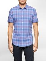 Calvin Klein Slim Fit Check Plaid Cotton Twill Shirt