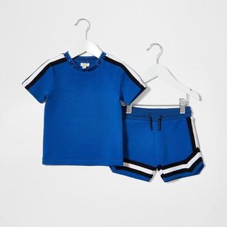 Prolific River Island Mini Boys Blue texture tape t-shirt outfit