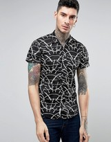 Scotch & Soda Scotch and Soda Shirt with Open Collar in Black Leaf Print
