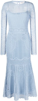 Alexander McQueen Open Weave Flared Dress