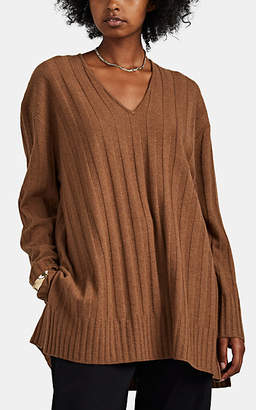 ROUCHA Women's Tacer Ribbed Wool V-Neck Sweater - Camel