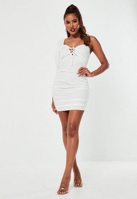 Missguided White Cotton Ruched One Shoulder Mini Dress