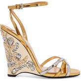 Prada Embellished Metallic Leather Wedge Sandals - Gold