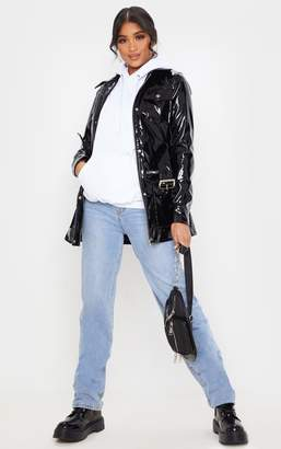 PrettyLittleThing Black Vinyl Utility Belted Jacket