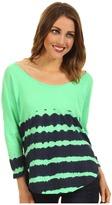 C&C California Gradient Stripe Triblend 3/4 Sleeve Shirttail Tee (Lime) - Apparel